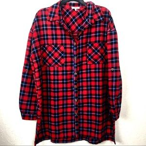 Jodifl Button Up Red Plaid Oversized Tunic Top Med